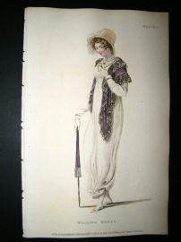 Ackermann 1809 Hand Col Regency Fashion Print. Walking Dress 2-25
